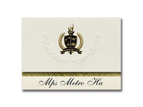 Signature Announcements Mps Metro Ha (Minneapolis, MN) Abschlussankündigungen, Präsidential-Stil, Elite-Paket mit 25 goldfarbenen und schwarzen metallischen Folienversiegelungen