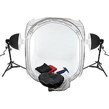 Amzdeal Caja de luz portátil, Kit de iluminación para estudio fotográfico, 80 x 80 cm caja de luz fotografía, kit de fotografía completo y profesional