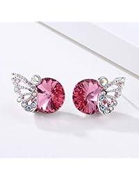 a2e23b80ccda LBYMYB 925 Aguja De Plata Rosa Pendientes De Mariposa De Cristal Pendientes  Temperamento Coreano Joyas Regalo