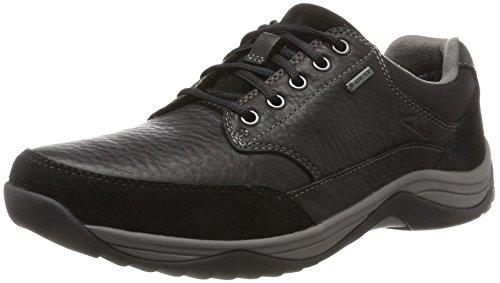 Clarks Baystonego GTX, Abarcas para Hombre, Negro (Black Leather), 45 EU