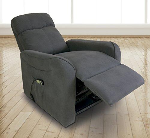 Homesouth - Butaca power lift, sillon relax Carlin tapizado en jarama color Gris Marengo