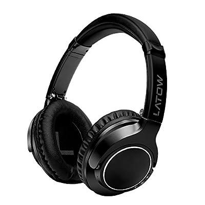 Casque Bluetooth, LATOW Casque Bluetooth Sport sans Fil Portable avec Jack et Micro intégré Casque Audio Bluetooth Ultra Doux pour iPhone, Android, Ordinateurs, télévisions – Noir par LATOW