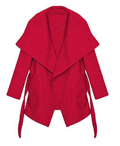 Kendindza Damen Mantel Trenchcoat mit Gürtel OneSize Lang und Kurz (One Size, Rot Kurz) - Damen Mantel Pullover
