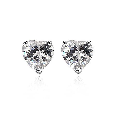 FushoP Heart Shape Cubic Zirconia Rhinestone Stud Earrings pour Femme