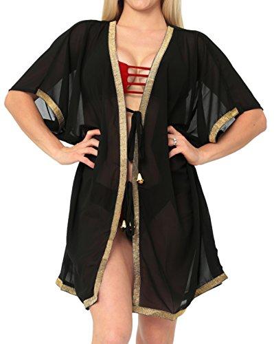 LA LEELA Damen Sommer Boho Chiffon Kimono Stil Plain Tops Jacke Cardigan Blusen Beachwear Schwarz_M433 DE Größe: 42 (L) - 54 (5XL) -
