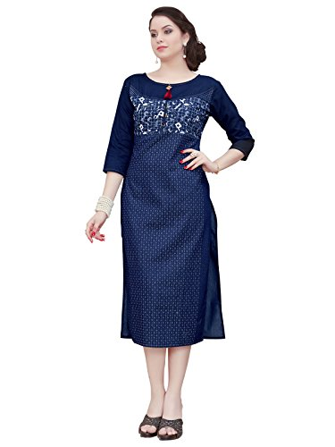 Varayu Women's Cotton Denim Printed Stitched Straight Kurti(170K1008-L,Navy Blue)