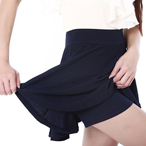SaiDeng Damen Pur Farbe Hoch Taille Kurz Rock Tutu Marine M - Blau Linie Rock Eine Licht
