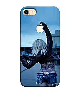 PrintVisa Designer Back Case Cover for Apple iPhone 7 (Logo View Window Case) (Fancy look tatto dressing ugly)