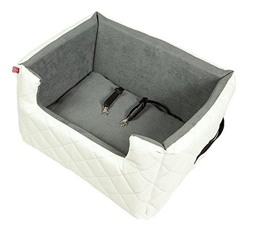 Amibelle komfortabler Hundesitz   LUX L Weiß   L 57 x B 50 x H 25 cm   Autositz Rückbank/Vordersitz   Luxus für Hunde   ohne Chemie