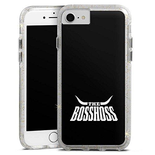Apple iPhone 8 Bumper Hülle Bumper Case Glitzer Hülle Bosshoss Rockmusik Musik Bumper Case Glitzer gold