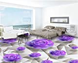 Yosot 3D Bodenbelag Erweiterte Design Tapeten Lila Rosen Romantische Badezimmer Schlafzimmer 3D Stock 3D-Tapete-350Cmx245Cm