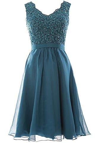 MACloth Women V Neck Vintage Lace Chiffon Short Prom Dresses
