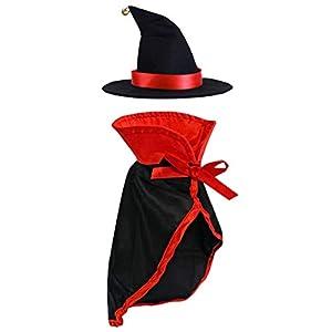 LAWOHO pour Animal Domestique Halloween Costumes Diable Rouge sorcière Ensemble de décoration de Festival Cat Suit Vêtements pour Petits Chats avec Cape et Chapeau