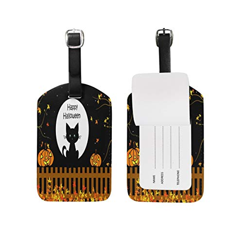 Cute Halloween Cat Kitten Pumpkin Maple Leaf Luggage Tags Travel Bag Tag Suitcase 1 Piece Set (Halloween Beach Grays)