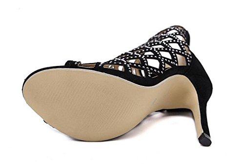 GLTER Cinturino Donne Pumps Roma T Stage Show Diamante Hollow Sandali con tacco Scarpe a punta aperta tacco a cono da tennis scarpe da donna nero pompe Black