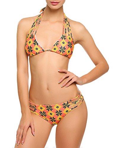 Bikini Damen Badeanzug Neckholder Swimsuit Fashion Schwimmanzug Sexy Bademode Schalen Schlankheits Badeanzug Rot XXL