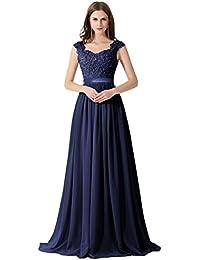 b77ebd054f1e8 Damen Elegant Spitze Brautjungfernkleid A-Linie Chiffon Abendkleid in 8  Farben Maxilang 32-46