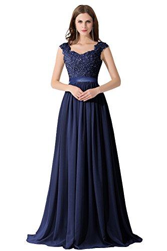 Damen Elegant Ämellos Chiffonkleid Partykleid mit Stickerei Bodenlang Navyblau 34