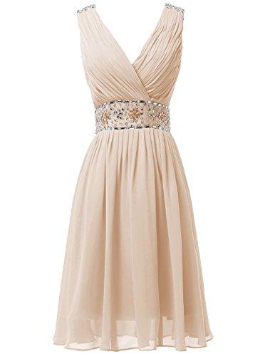 Dresstells Damen Elegant V-Ausschnitt Abendkleider Kurz Chiffon Ballkleider Cocktail/Partykleider Champagner