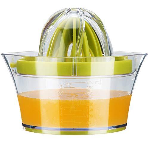 Zitruspresse Zitronenpresse Orangen Entsafter Multifunktionale Manuelle Zitrusfrucht Saftpresse Handpresse mit 400ml Saftbehälter und 2 Presskegel