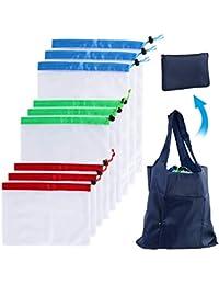d99b03c0f MKISHINE 9 PCS Bolsas de Malla Reutilizables +1 XL Bolsa Dela Compra  Plegable,Bolsas
