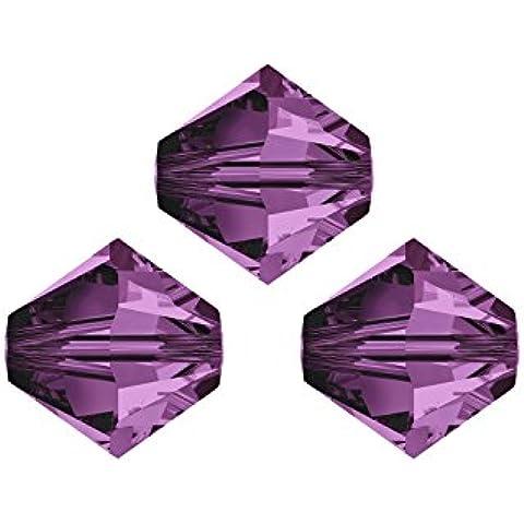 Perline Swarovski, 5328,bicono, cono doppio, 6mm, 20pezzi, cristallo, giallo, nero, 42 ametista - Ametista Bicono