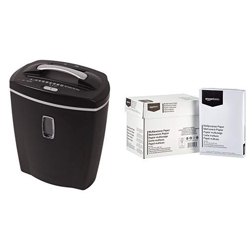 Genie 580 XCD Aktenvernichter, bis zu 10 Blatt, Partikelschnitt (Sicherheitsstufe P-4), mit CD - Shredder, inkl. Papierkorb, schwarz & AmazonBasics - Druckerpapier, 5x500 Blatt