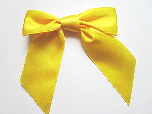 25x Satin-Schleifen Handarbeit 9 x 10 cm (Gelb) (Neun Schleife)