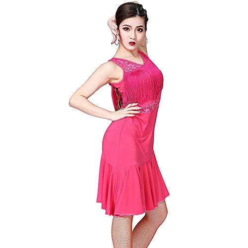 LONMEI Damen Kleider - Ärmellose Spitze Fringe Dancewear Samba Tango Latin Dance Dress Kostüme, Rose - Fringe Kleid Dance Kostüm