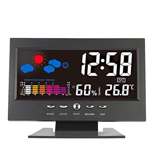 Zerama Elektrische Desktop Clock Elektronischer Alarm Bunte LCD-Hintergrundbeleuchtung Schirm-Digital-Uhr Datum-Zeit-Kalender Schreibtisch-Uhr -