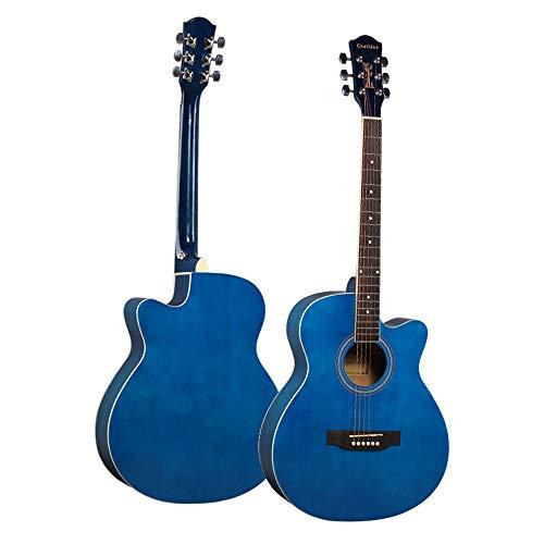 LCDY Guitarra Acústica De Haya De 40 Pulgadas Falta Principiantes Guitarra De Madera Lateral Color Brillante Practica Principiante Estudiante Adulto Instrumento De Guitarra,Blue,102 * 49 * 47CM