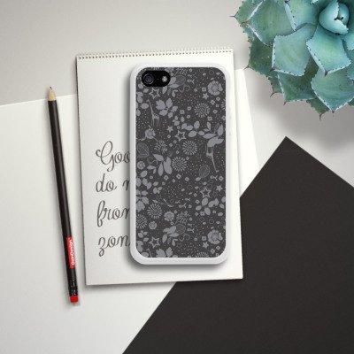 Apple iPhone 5 Housse étui coque protection Girafes Étoiles Gris Housse en silicone blanc