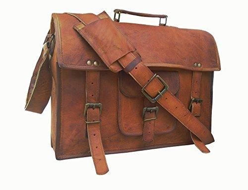 handolederco 38,1cm Vintage Aktentasche Leder Schulter Messenger Laptop Tasche für Herren und Damen