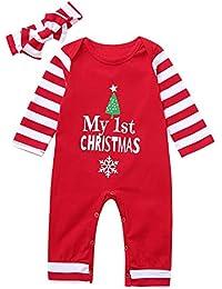 bauycy Klettern Jumpsuit Baby Kind langärmelige Weihnachten Brief Streifen Druck Kurzhaar Crawlen Anzug Onesies + Haarband Anzug Weihnachten Anzug Pyjamas