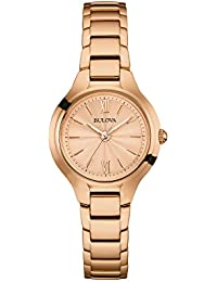Bulova Ladies Women's Designer Watch Bracelet - Rose Gold Classic Dress Wrist Watch 97L151