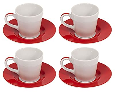 Bialetti Classic Tazze Caffe Ceramic Espresso Cups and Saucers Set of 4 x 90ml Large Designer Italian Single/Double Shot White/Red Espresso Coffee Mugs/Glasses & Modern Round Saucers from Bialetti