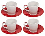 Bialetti classique Tazze Caffe Tasses à expresso en céramique et soucoupes Lot de 4x 90ml Grande Designer Italien simple/double Shot Blanc/rouge Espresso Tasses à café/verres et soucoupes rond moderne