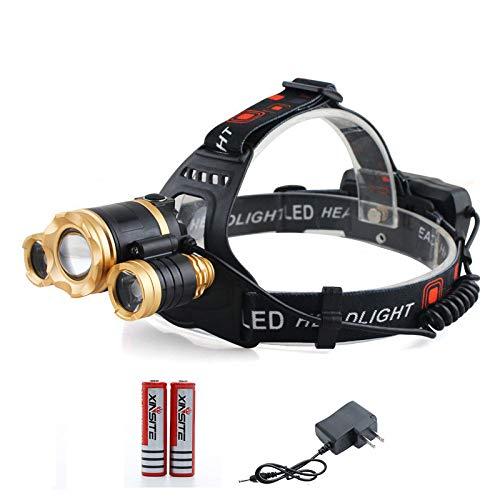SUN EAGLE Lampe Frontale LED 2000 Lumens Phares à Induction Charge USB Zoom T6 Phares Puissants pour La Course Camping Randonnée Pêche,Zoom1T6-DC-induction
