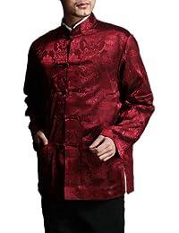 Veste Réversible Tai Chi Rouge / Noire Col Mao Blazer Mariage Homme Chemise Dragon #101