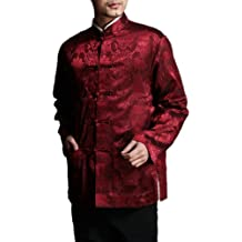Chino Tai Chi Kung Fu reversible Rojo / Negro Chaqueta Blazer -100% Seda Brocada #101