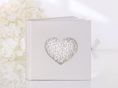 HausderHerzen.de Gästebuch Hochzeit Hochzeitsgästebuch mit edlem Herz in Lasertechnik - Laser Cut