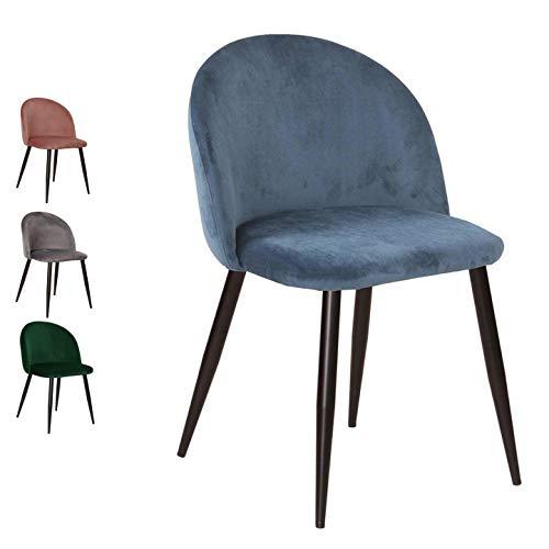 Nimara Samt Stuhl in skandinavischem Design | Esszimmerstühle und Küchenstühle für den Esstisch aus Stoff | Esszimmerstuhl in Rosa, Grau, Dunkelgrün und Blau (Blau)