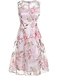 e0364d90dd9ac DressLily Sleeveless Floral Sheer Organza Dress
