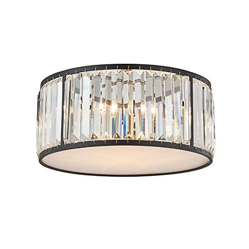 NBKLS LED Round Schlafzimmer Crystal Deckenleuchte K9 Crystal Deckenleuchte Retro Black Iron Beleuchtung Land Wohnzimmer Schlafzimmer Restaurant Badezimmer Deckenleuchte -