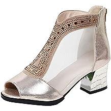 cdc32690fa4 LHWY Sandalias Damas de la Moda de Las Mujeres de Cristal Peep Toe Zapatos  Casuales Sandalias