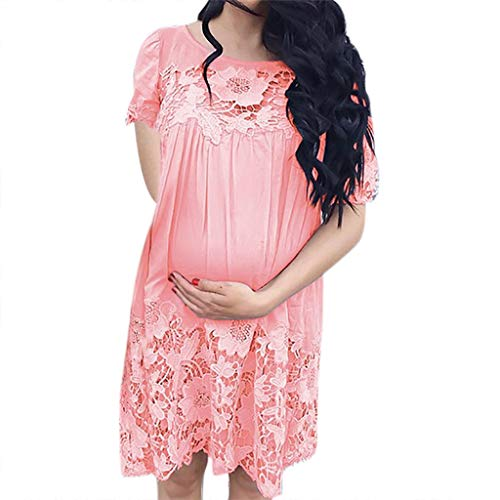 Damen Schwangerschaftskleid,Malloom Frauen Sexy Solide Mutterschaft Schwangere Oansatz Kurzarm Krankenpflege Spitze ()