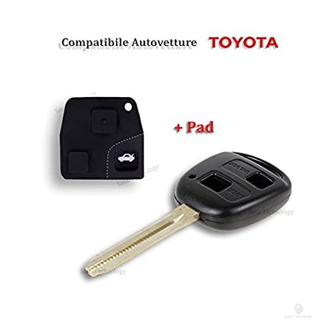 Car Key Remote Shell with Pad Shell 2 Buttons for Toyota Corolla (2003 Rav4 Di Toyota)