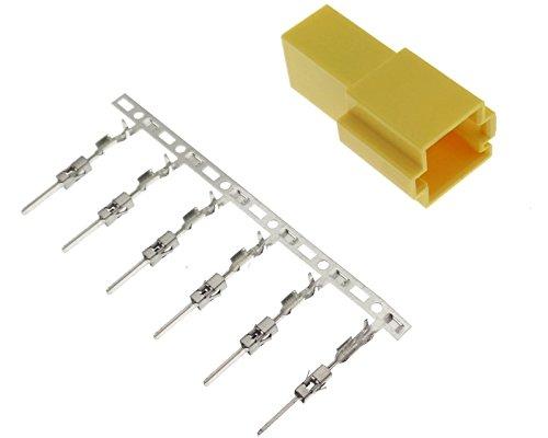 Mini ISO Buchse Gehäuse 6 polig Gelb + Pins Kontakte Radio kompatibel mit Autoradios von Blaupunkt Becker Grundig Philips VDO Daytona