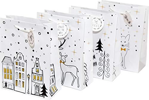Geschenktüten, 18 x 23 x 8 cm, 12 Stück | Geschenktaschen Schwarz Weiß Gold | Tüten für Weihnachtsgeschenke