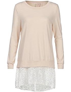 [Patrocinado]Camisetas Mujer Manga Larga,VENMO Cuello redondo de la mujer de encaje Split camisa de manga larga Tops Blusa...